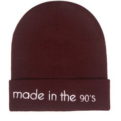 Statement Beanie ($5.99) ❤ liked on Polyvore featuring accessories, hats, beanies, burgundy, wet seal hats, wet seal, burgundy beanie, burgundy hat and beanie hat