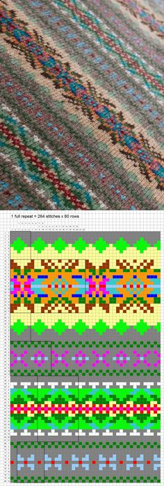 Fair Isle Knitting Pattern ---- Project: Use for skirt, replacing heather gray with black.