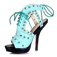Sandaler ( Blå ) - till KVINNOR Stiletto klack - Klackar/Platå/T-rem/Sling/Mary Jane/Baspump/Öppen tå/Ankle Rem - i Flocking/Läder