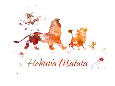 The Lion King Hakuna Matata ART PRINT illustration Disney Mixed Media Home Decor Nursery Kid