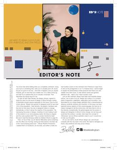 Bielle Bellingham's Editor's Letter for Elle Decoration South Africa's Issue. Elle Decor, Knowing You, Layouts, Innovation, Magazine, Lettering, Feelings, Decoration, Inspiration