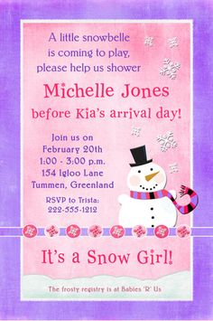 winter baby girl shower ideas | Winter Snowbelle Baby Shower Invitation - Girl Pink Purple Snowflake
