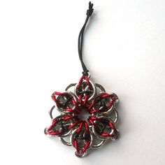 Chainmaille Christmas ornament Red and black Gothic Celtic Visions star #dteam