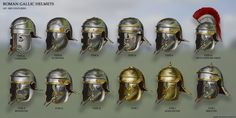 Here is what most people see as a typical Roman helmet. In comparison to the extent of time the Roman empire endured, this helmet in paticular was used . Roman Gallic Helmet Type 'H' Ancient Rome, Ancient History, Ancient Greek, Gods Of War, Greek Soldier, Roman Armor, Roman Helmet, Rome Antique, Roman Warriors