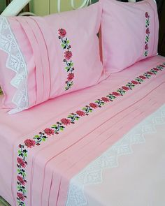 There is no description of the photo. Bed Covers, Pillow Covers, Bed Sheet Painting Design, Folding Fitted Sheets, Bed Cover Design, House Front Porch, Decoration Bedroom, Bridal Dress Design, Designs For Dresses