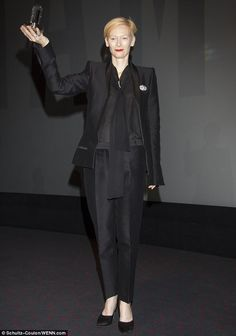 Tilda Swinton suits up in all black to accept Douglas Sirk Award