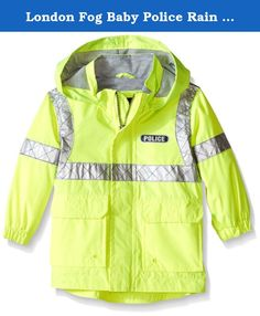 London Fog Baby Police Rain Slicker, Yellow, 18 Months. Baby boys police rain slicker with jersey lining.