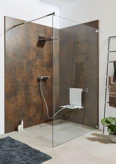 Ihre Duschwelt ❤ For a quick renovation, the Sprinz System Basic rear shower panel will be mounted d Boho Bathroom, Glass Bathroom, Design Bathroom, Shower Seat, Shower Panels, Shower Tiles, House Plans, Indoor, Bathtub