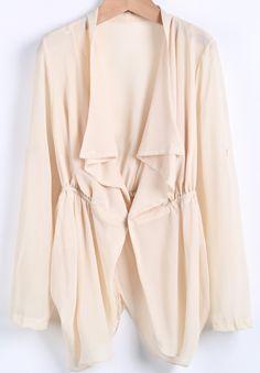 Apricot Lapel Long Sleeve Loose Chiffon Tailcoat - Sheinside.com