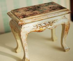 Dollhouse miniature furniture Victorian table by PetitDeCherries, $17.64 Also for that white French bedroom (RM)
