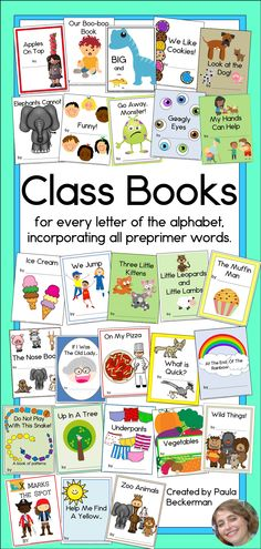 28 class books to create with your students, one for every letter of the alphabet (plus 2 extras: Our Boo-Boo Book, and Googly Eyes). These books use all the preprimer, and many other sight words. TpT $