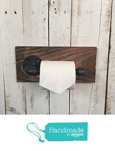 Industrial Toilet Paper Holder, toilet paper holder, Black Iron Pipe, wood wall hanging TP holder, industrial décor, bathroom décor from Country Corner Goods http://www.amazon.com/dp/B018TF1A2E/ref=hnd_sw_r_pi_dp_ErzDwb1E4C2QN #handmadeatamazon