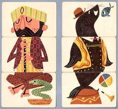 Vintage mix and match illustrations. 1956.