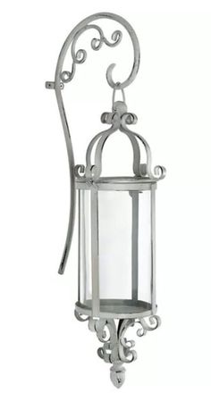 New Shabby Chic French Country Style Large Hanging Wall Candle Lantern Sconce