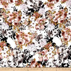 Rayon Challis Dreamer Floral White/Grey from @fabricdotcom  This rayon fabric has a beautiful fluid drape and soft hand. It is perfect for creating shirts, blouses, gathered skirts and flowing dresses with a lining. Colors include mauve, lavender, grey, black, green and white.