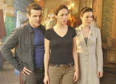 Still of Eddie McClintock, Joanne Kelly and Jaime Murray in Warehouse 13 (2009)