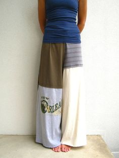 T Shirt Pants / Wide Leg / Palazzo Style / Black Blue by ohzie want to make these.