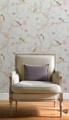 Shabby Chic Birds & Butterflies Wallpaper by Holden Decor, Teal Background