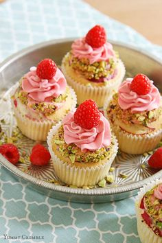Raspberry Rose Water Cupcakes - www.yummycrumble.com