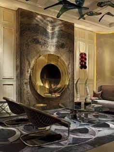 Ideas contemporary furniture design ideas fire places for 2019 Home Fireplace, Fireplace Design, Modern Fireplace, Stone Fireplaces, Console Design, Wall Fires, Design Salon, Cow Hide Rug, Living Room Lighting