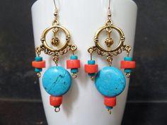 Fashion Style Earrings,Dangling Chandelier Earrings,Salmon Coral Earrings,Orange Coral Earrings,Natural Coral Earrings