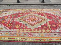 Decorative Red Turkish Kilim Rug Light Green Red n' by Sheepsroad, $1380.00