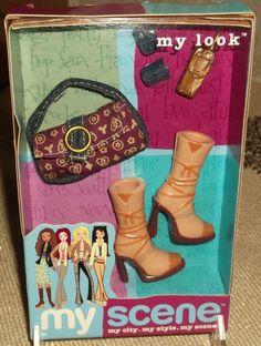 2003 My Scene My Look Doll Accessories Beige Boots & Maroon Purse New Barbie Pal 2003 #Mattel