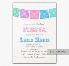 Mexican Fiesta Baby Shower Invitations - Printed, Bridal Couples Papel Picado Boy Girl Cinco de Mayo Pastel Gender Neutral - chitrap.etsy.com
