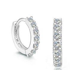Nueva Hilera de Diamantes Simulados Pendientes de Plata de Ley 925 Mujeres Joyería de Moda Stud Wedding Party Girl Accesorios GSZ0056