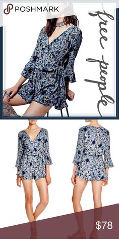 "Free People All The Right Ruffled Romper ➖BRAND: Free People   ➖SIZE: Small - measurements approximate        ➖BUST: 19"" flat -> 39""       ➖WAIST: 13.5"" flat -> 27""       ➖HIPS: 23"" -> 46.5""       ➖RISE: 13.5"" ➖INSEAM: 1 7/8""      ➖SLEEVE LENGTH: 18.75""  ➖STYLE: All the Right Ruffled in Rain Blue: A Floral printed romper featuring a wrapped bodice and button closures down the back and quarter length sleeves with a Ruffle detailing.  ➖MATERIAL: 60% Viscose , 40% Rayon   ❌NO TRADE  766808 Free…"
