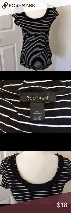 WHBM Striped Top Black & white striped top with ruffled neckline. Rayon & spandex White House Black Market Tops