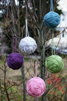 Yarn Ball Ornaments - 15 Easy Kids Christmas Crafts
