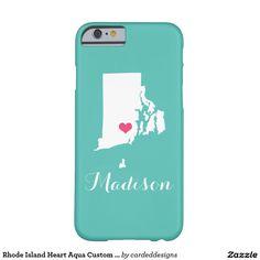 Rhode Island Heart Aqua Custom Monogram Barely There iPhone 6 Case
