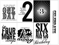 Free Countdown Numbers to Birthday (also available in girlie pink) from Heidi Swapp