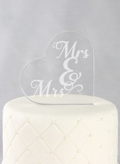 "Acrylic Square Cake Topper Mrs. & Mrs.  This Mrs & Mrs acrylic heart is the perfect cake topper to display at your reception and a beautiful accent to later display in your home.    4"" w (at widest point) x 4"" h x 0.5 thickness  Laser engraved  lesbian, LGBT wedding"