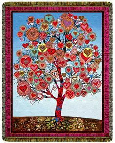 Tree of Hearts Tapestry Blanket - Buddhist Tapestry Blankets Namaste, Buddha, Great Gifts, Heart Quilts, Tapestry, Throw Blankets, Wall Art, Hearts, House