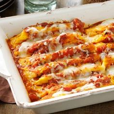 Cheese & Pumpkin-Filled Manicotti- Perfect for chilly autumn nights, serve up these warm and cozy fall dinner recipes for family suppers. From soups and stews to roasts and casseroles, these recipes are true soul-warming comfort food. Cheese Manicotti, Stuffed Manicotti, Cheese Pumpkin, Canned Pumpkin, Pumpkin Spice, Pumpkin Pasta, Pumpkin Pumpkin, Pumpkin Puree, Veggies