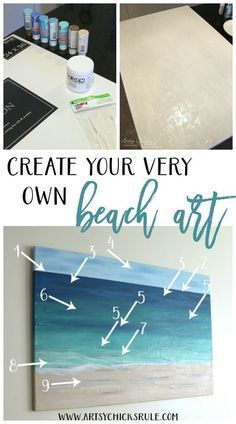 Easy tutorial on how to create your own beach art. Play with different tones and create ocean sunrise. You could even paint a mermaid flipping her tail in the deep blue water.