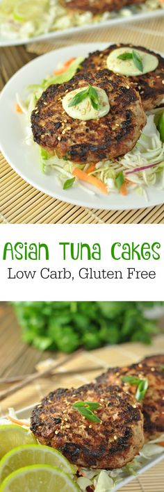 Asian tuna cakes - low carb, gluten free peace love and low Seafood Recipes, Paleo Recipes, Asian Recipes, Low Carb Recipes, Cooking Recipes, Tuna Recipes, Asian Tuna Recipe, Shellfish Recipes, Cooking Fish