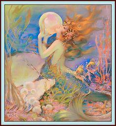 "Print HENRY CLIVE Arts & Crafts 20s-30s Art Deco ""Mermaid"" Women Sea Pinup"