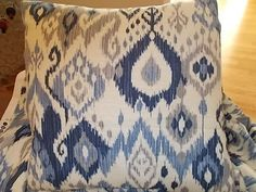 New Ikat Pillow cover Navy blue, grey on white Highend fabric 18 inch cushion cover. $45.00, via Etsy.