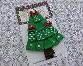 Festive Christmas Tree Hair Bow Clip
