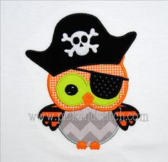 Pirate Owl Halloween Applique machine embroidery by pickandstitch, $4.00