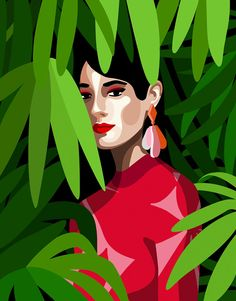 illustration-mathilde-cretier-green-and-red. Inspiration Art, Art Inspo, Portrait Illustration, Digital Illustration, Graphic Design Illustration, Graphic Art, Portraits Illustrés, Pop Art, Arte Fashion