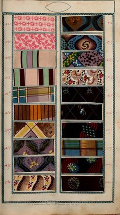 Book of samples (1825) In the Mary Ann Beinecke Decorative Art Collection. Sterling and Francine Clark Art Institute Library. Link: https://archive.org/stream/bookofsamples00fort#page/n45/mode/2up