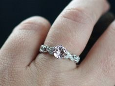 White Sapphire Engagement Ring Gaia & Diamonds Leaf Band w/