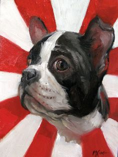 'Guilty Eyes' Boston Terrier Oil on Gessobord - by Margot King