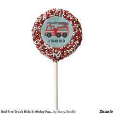 Shop Red Fire Truck Kids Birthday Party Treats Chocolate Covered Oreo Pop created by RustyDoodle. Oreo Cookie Pops, Oreo Pops, Oreo Cookies, Birthday Party Treats, Birthday Parties, Cookie Gifts, Chocolate Covered Oreos, Ribbon Colors, Red Ribbon