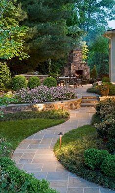 Beautiful Backyard Garden Path & Walkway Ideas On A Budget Schöne Hinterhof Gartenweg & Front Yard Landscaping, Backyard Landscaping, Landscaping Design, Backyard Patio, Pergola Design, Inexpensive Landscaping, Front Walkway, Luxury Landscaping, Rustic Backyard