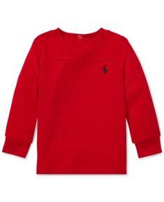 aaa4bdf6 Polo Ralph Lauren Baby Boys Waffle-Knit Long-Sleeve T-Shirt - Red